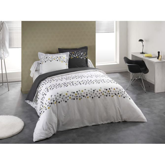 parure de lit confetti blanc couleur blanc taille 220x240 achat vente serviettes de. Black Bedroom Furniture Sets. Home Design Ideas