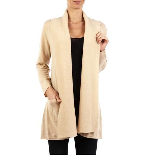 gilet long pur cachemire beige beige achat vente gilet cardigan gilet long pur cachemire. Black Bedroom Furniture Sets. Home Design Ideas