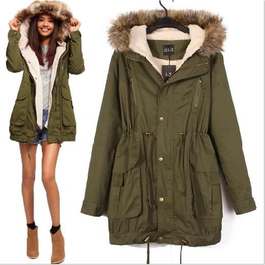 manteau femme parka hiver fourrure avec capuche vert arme. Black Bedroom Furniture Sets. Home Design Ideas