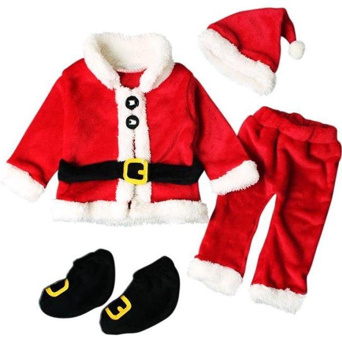 Tenue Noel Bebe Tenue Père Noël Bébé Garçon Fille Unisexe 4 PCS Ensemble de