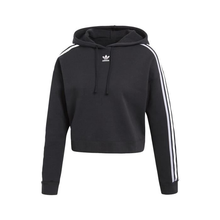 acheter populaire fbb57 58c6f Adidas - Adidas Cropped Hoodie Femme Sweat Shirt Noir