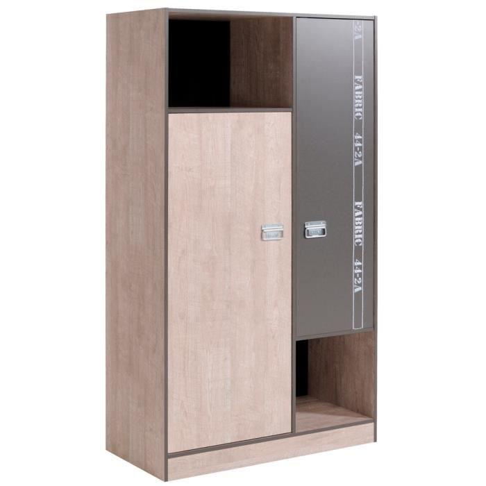 ARMOIRE DE CHAMBRE NOA Armoire de chambre style industriel gris loft