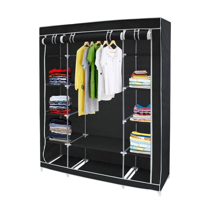 armoire penderie noire en tissu achat vente penderie. Black Bedroom Furniture Sets. Home Design Ideas