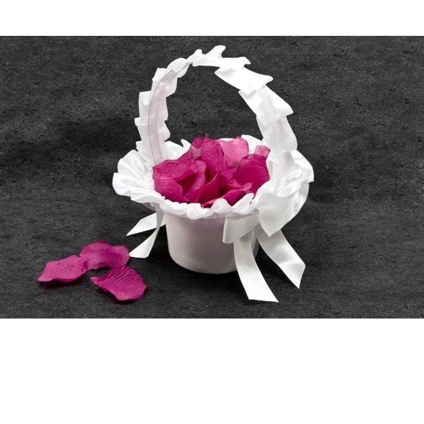 Accessoire de mariage Panier satin blanc pour dragée ou pétale de fleur