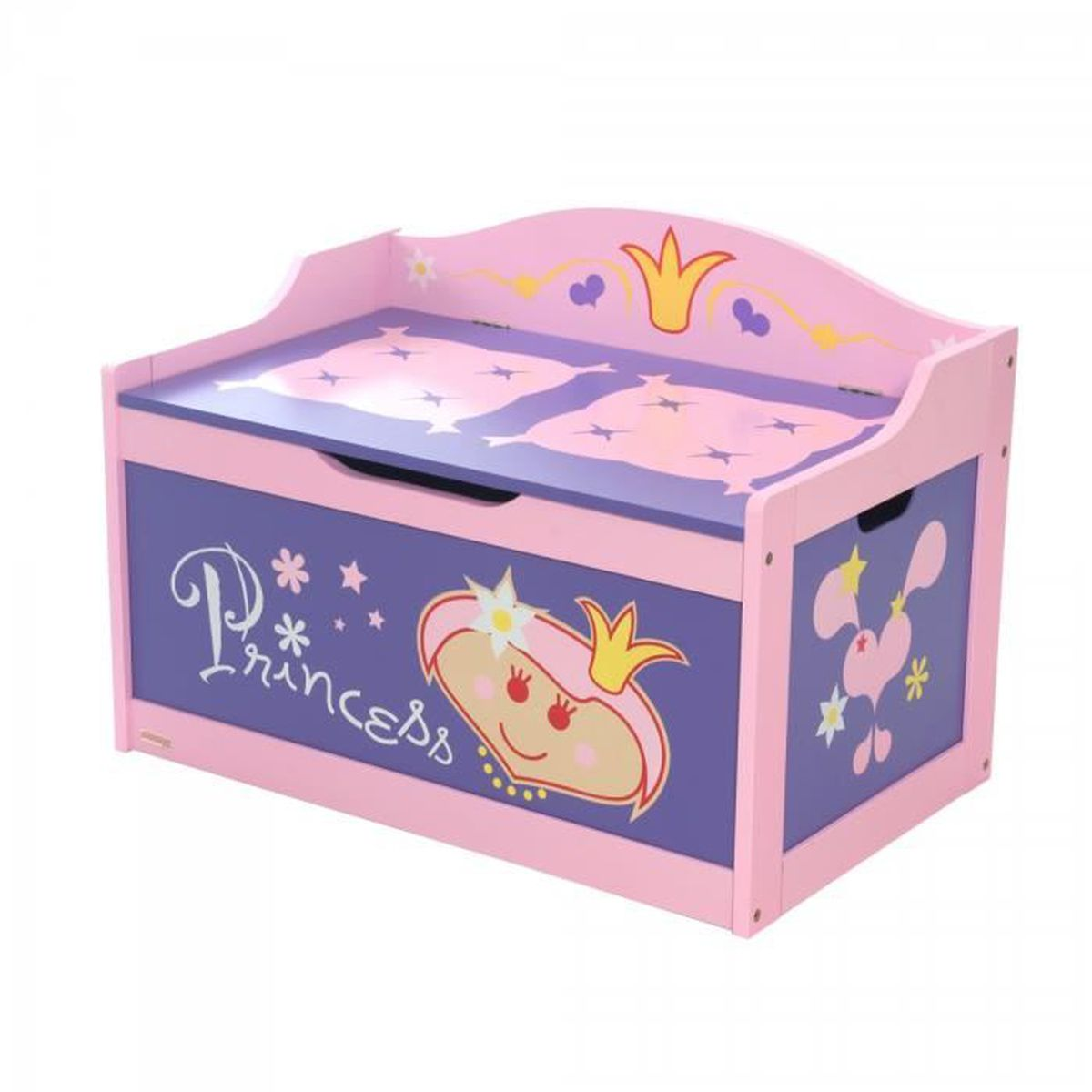coffre rangement rose pour fille design princess achat vente coffre jouets 2009817855771. Black Bedroom Furniture Sets. Home Design Ideas