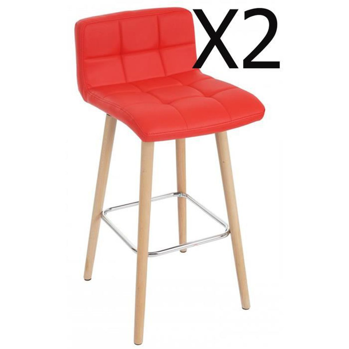 lot de 2 tabourets de bureau en simili cuir coloris rouge dim h 94 x l 48 x p 42 cm achat. Black Bedroom Furniture Sets. Home Design Ideas