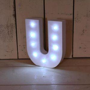 PLAQUE DE PORTE LETTRE LED BLANC ALPHABET EN BOIS - LETTRE U 59374