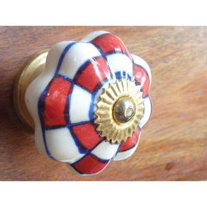 POIGNÉE - BOUTON MEUBLE Boutons porcelaine damier rouge