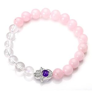 8 mm Naturel Pierre bouddhiste Rose Jade 108 prière perles Mala Bracelet Collier 859