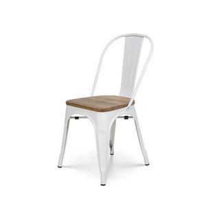 CHAISE KOSMI - Chaise Blanche en métal et Bois clair Styl