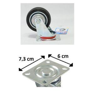 ROUE - ROULETTE Lot 4 Roulette Roue Pivotante Rotative - 7cm - 3