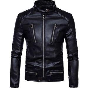 BLOUSON - VESTE Homme Veste en Cuir Noir Courte Zipper De Moto Man