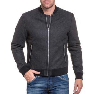 BLOUSON Blouson zippé en laine gris foncé homme
