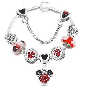 BRACELET - GOURMETTE Bracelet Charm Disney Style Pandora Cristal Argent