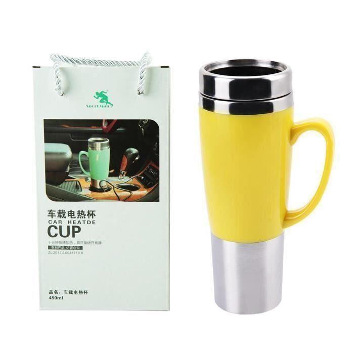 Tasse de voiture de chauffage électrique isolée de bouilloire thé café 12V (jaune)-CER