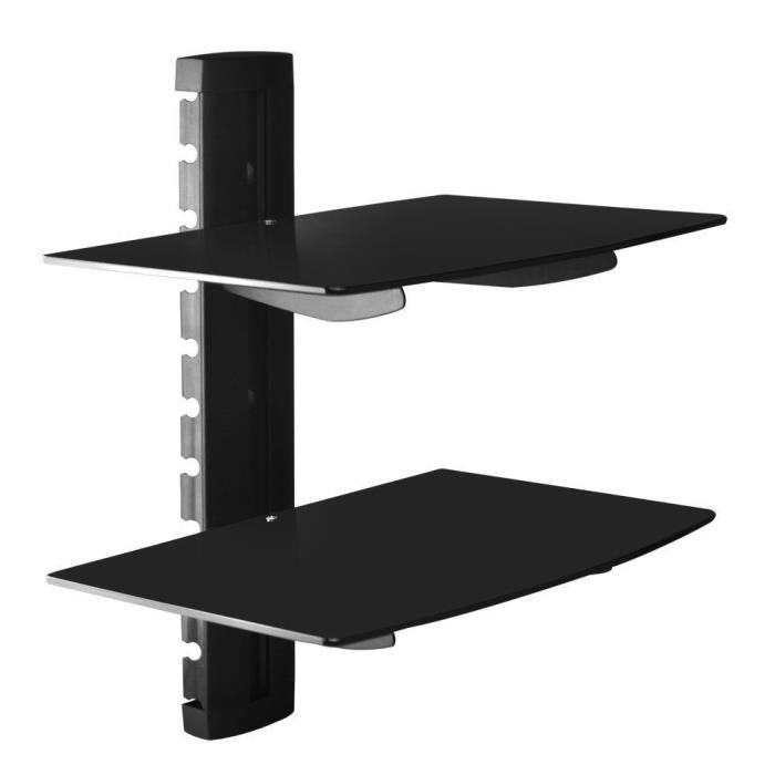Noir Tablette murale pour périphériques audio-vidéo - 2 étagères