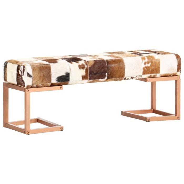 Banc 110 cm Banc d'extérieur Banc de jardin Chaise de jardin Marron Patchwork Cuir véritable de chèvre Nouveau *261300