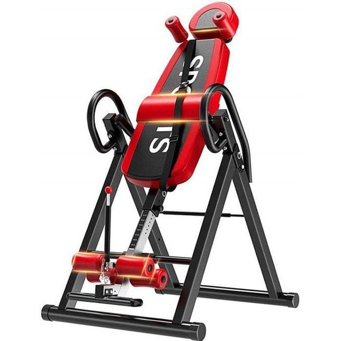 YOLEO Table d'Inversion Rouge Réglable 185cm Inversion 180°Pliable Musculation Appareil du Dos Bras Sport Exercice Maison Bureau