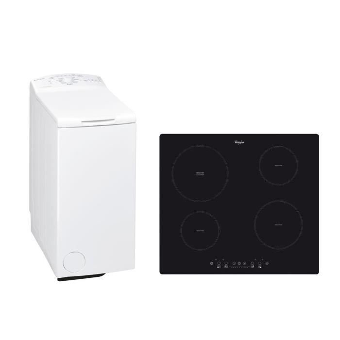 WHIRLPOOL AWE 6560 Lave-linge top - 6 kg - 1000 trs / min + ACM508NE Plaque de cuisson Induction - 4 zones - 6500W