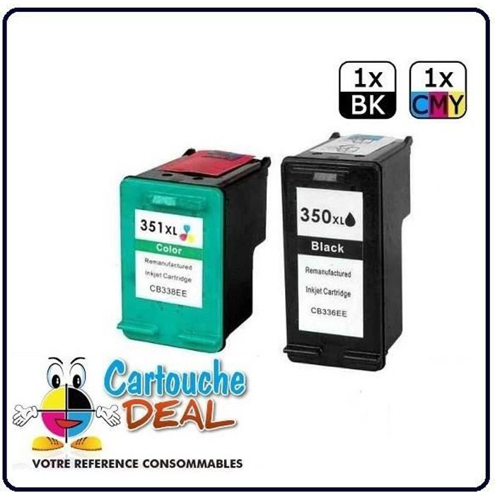 HP 350XL - HP 351XL -HP Photosmart C4380 C4390 Wifi C4400 C4472 C4480 C4500 C4580 Lot 2 cartouches compatible HP350 HP351 XL