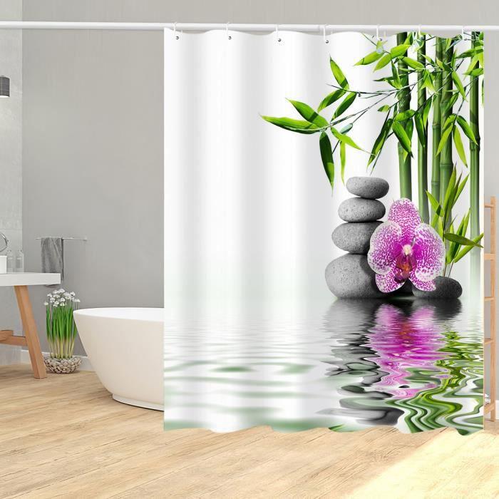 Rideau de douche zen bambou lac galets et fleur anneaux inclus 3D effect imperméable 180 x 200 cm