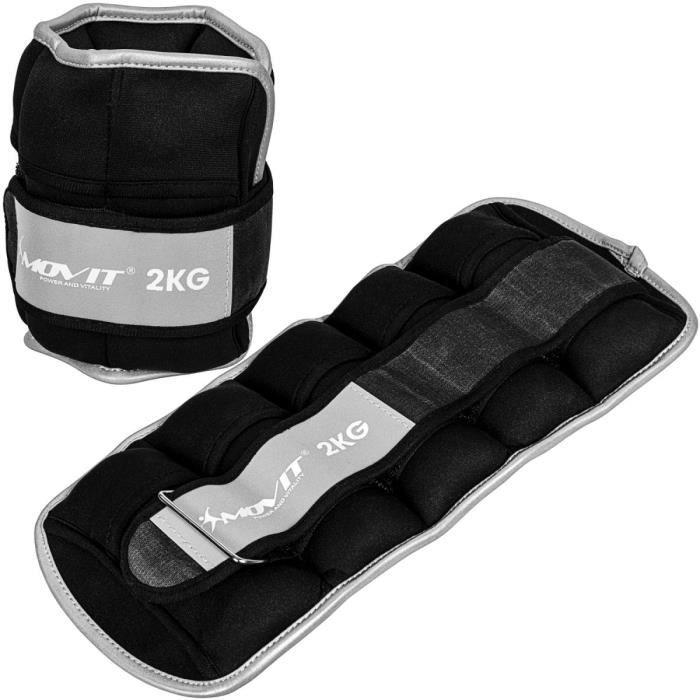 Movit® Bandes lestées pour poignets et chevilles 2x2kg, noir, poids néoprène avec matériau réfléchissant