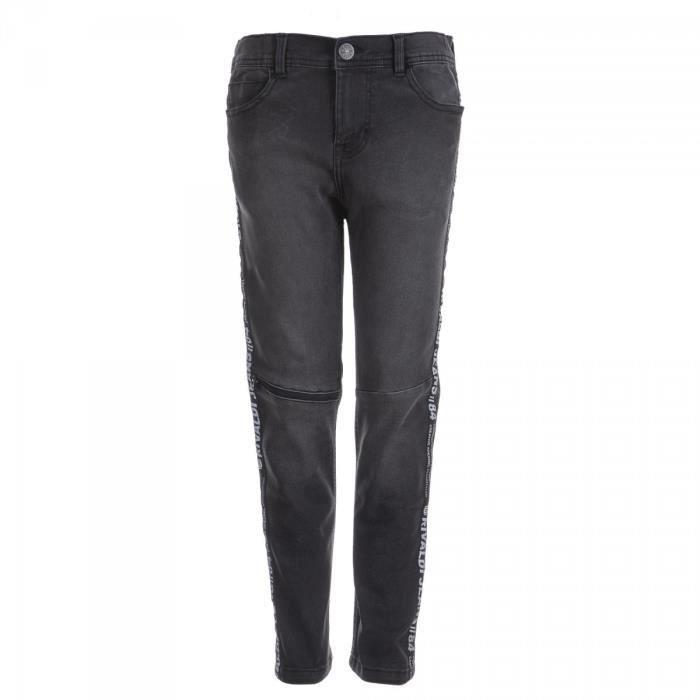 RIVALDI - Jeans denim 5 poches bandes côtés - Noir - Enfant Garçon