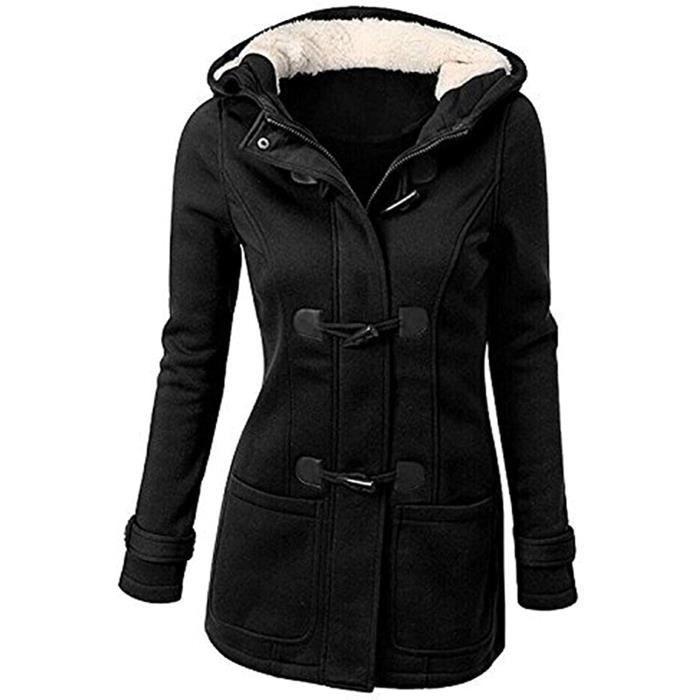 Manteau Femme de mi-longue à capuche Manteau épaississant Slim Duffle coat