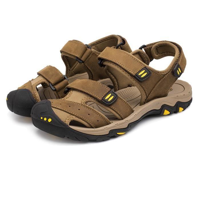 MBF® Homme Sandales Casual Plage Randonnée en Cuir Chaussures de Sport Toe Fermé Anti-glissant Respirant - Brun Claire