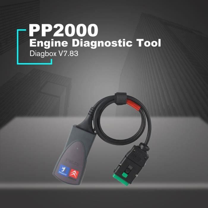 Cygne Outil de diagnostic automobile PP2000 OBDII Diagbox V7.83 pour voiture Citroen Peugeot noir