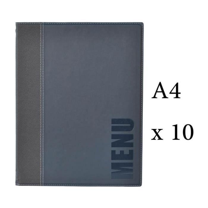 Lot 10 protège-menu Tendance format A4 couleur bleu - Porte menu hôtel restaurant - Securit 6 + 2 (14 vues totales) Similicuir