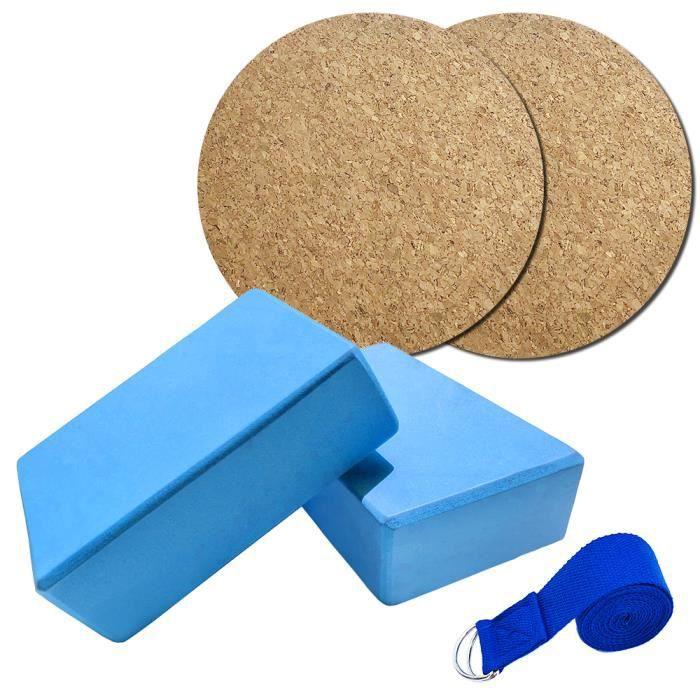 5pcs Ensemble de matériel de yoga, 2pcs Yoga Bloquer + Bande élastique de fitness 2.5m + 2pcs tapis de yoga bleu
