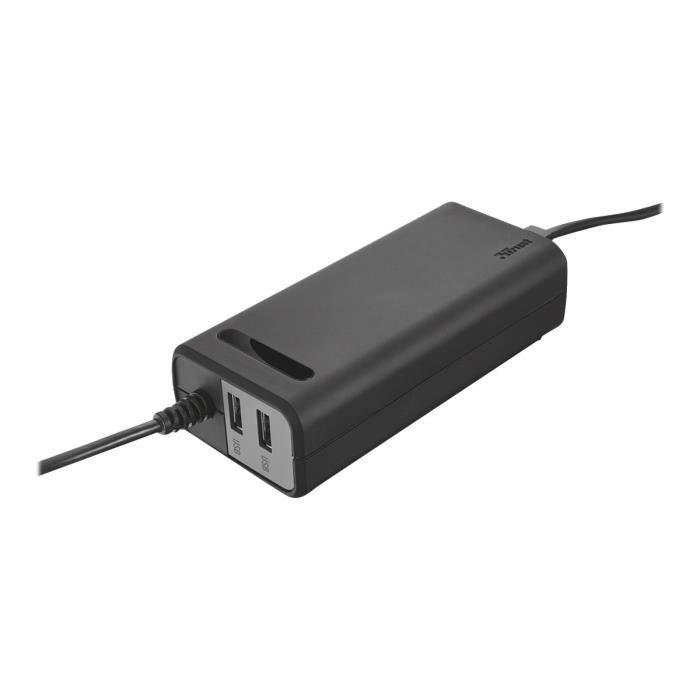 TRUST Duo 70W 2 USB Ports - Chargeur univ. PC - Noir