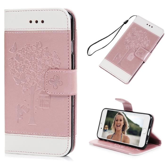 coque portefeuille iphone 6 rose
