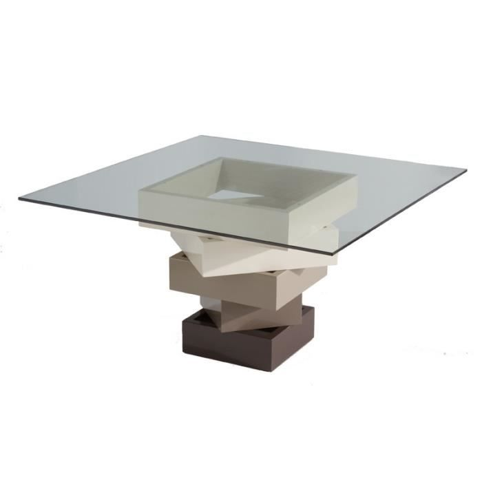 Table de repas carr e cr me kart l 140 x l 140 x h 76 - Table en verre carree ...