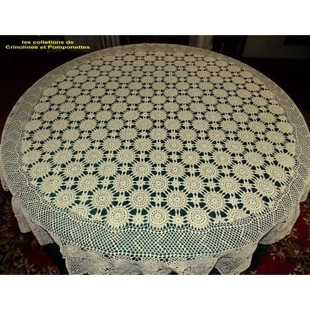 crochet main nappe ronde ecrue de 150 achat vente nappe de table soldes d t cdiscount. Black Bedroom Furniture Sets. Home Design Ideas