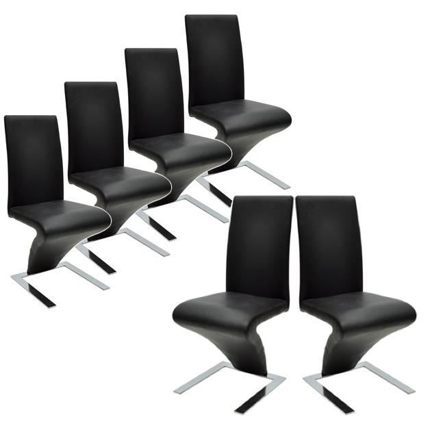 lot de 6 chaises design noir cdn achat vente chaise polyur thane cdiscount. Black Bedroom Furniture Sets. Home Design Ideas