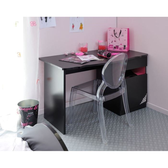 glam bureau l120 cm noir et rose achat vente bureau glam bureau l120 cm caisse panneaux de. Black Bedroom Furniture Sets. Home Design Ideas