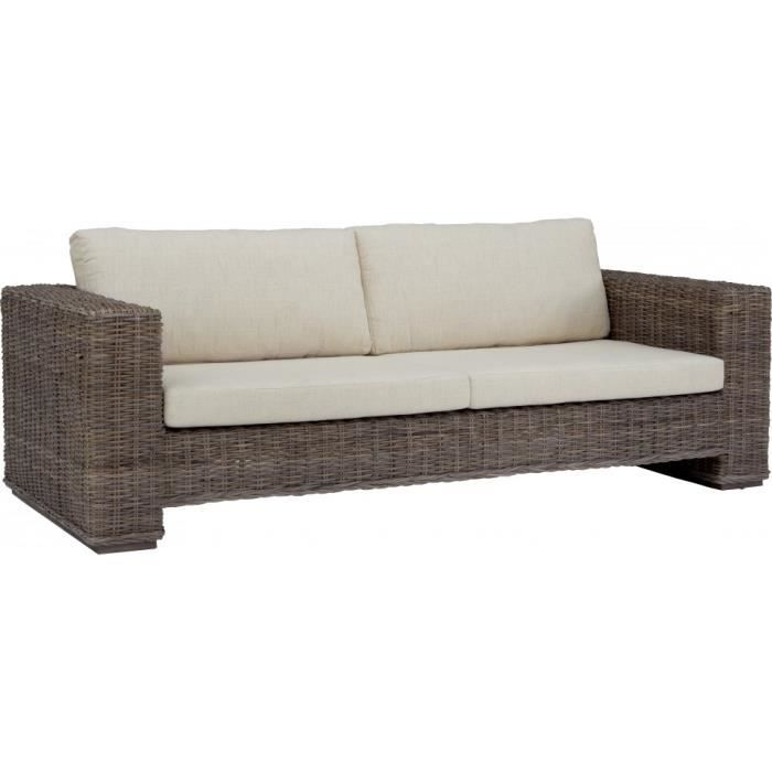 Canap carr 2 place rotin taupe tress coussin cru for Canape achat