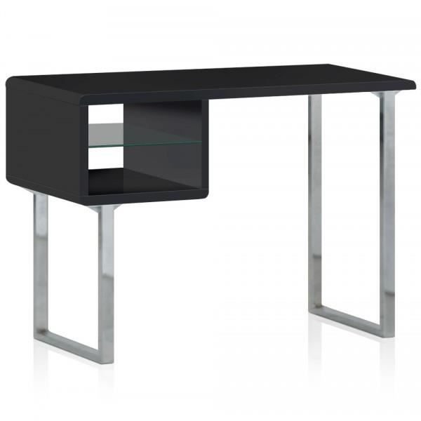bureau bois laque et inox u le noir couleur noir achat. Black Bedroom Furniture Sets. Home Design Ideas