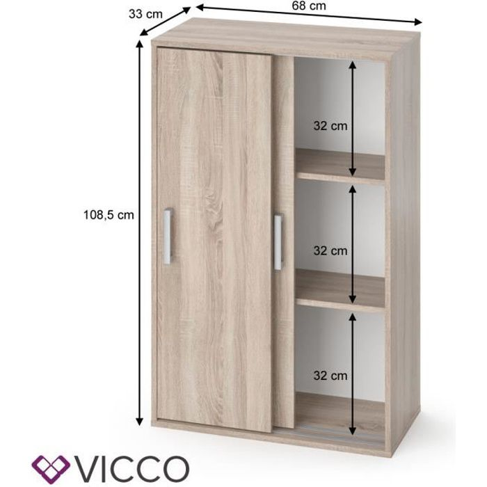 vicco armoire falk sonoma armoire a linge en chene porte coulissante commode