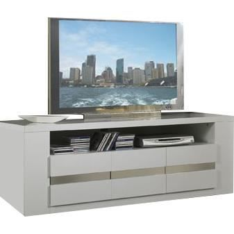 meuble tv design coloris blanc et gris achat vente meuble tv meuble tv design coloris bl. Black Bedroom Furniture Sets. Home Design Ideas