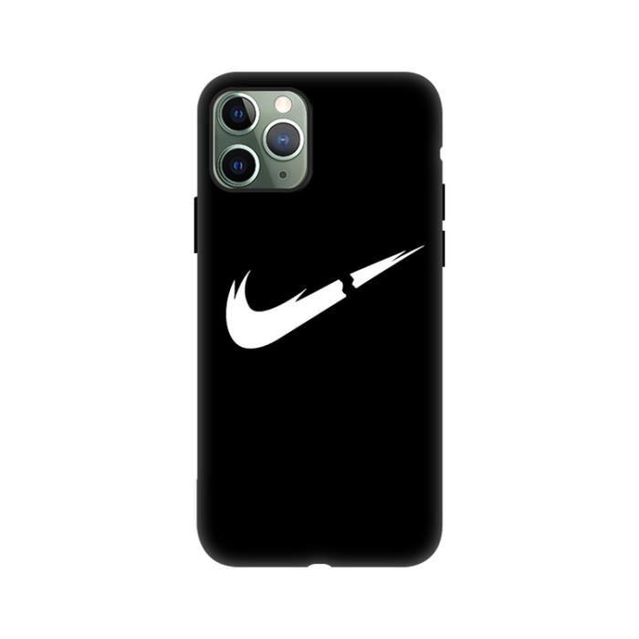 Coque iPhone SE-8-7,Nike Noir 1 Silicone en GEL TPU Souple Coque ...