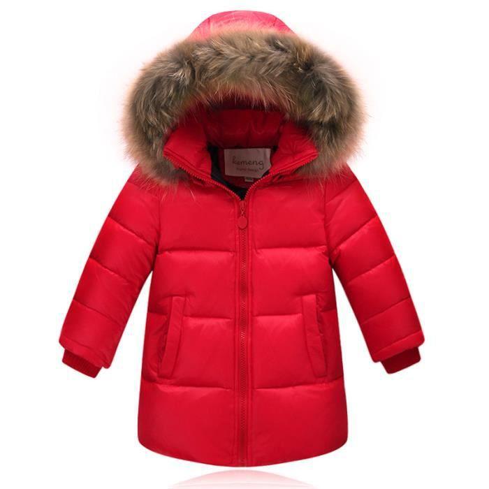 Magike Manteau Long Coton Fille Enfant Doudoune épais Confortable Blouson Hoodie