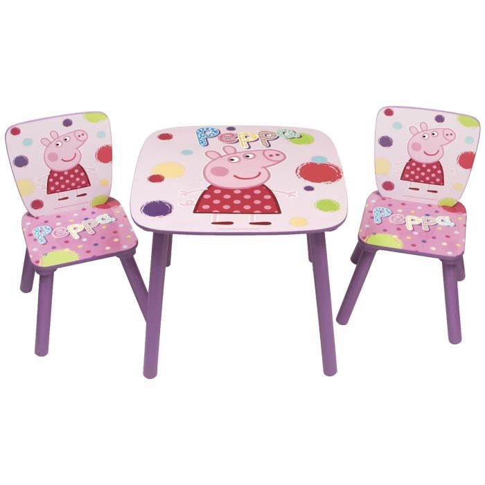 Peppa pig ensemble table et 2 chaises en bois achat for Ensemble table et chaise