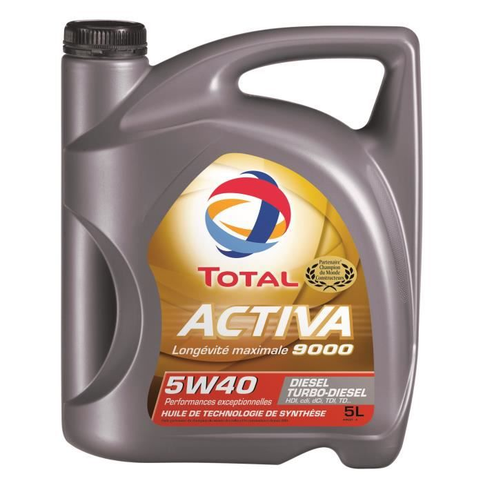 total huile auto activa 9000 diesel 5w40 5l achat vente huile moteur total activa 9000 5l. Black Bedroom Furniture Sets. Home Design Ideas