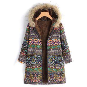 Mode Femme Casual Manteau Imprimé floral Poche Sans Manche Chaud Veste Plus