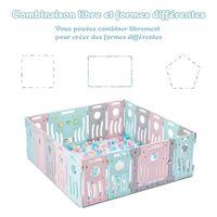LONTEK Parc bébé pour la sécurité pour enfants Play Yard Home Indoor - Outdoor - Jardin (Multicolor, 16+2 Panels)