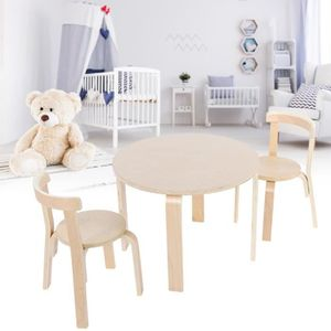 TABLE ET CHAISE Table d'enfants et 2 chaises en bois massif pour e
