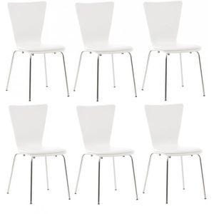 CHAISE 6x chaises de cuisine en bois blanc avec assise re